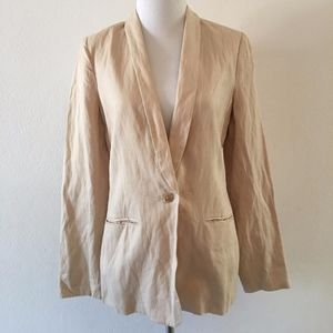 Vince Workwear Tan Linen Blazer Size 6 One Button
